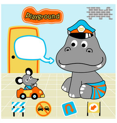Bahippo cartoon and friend with toys vector