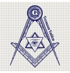 Ball pen freemasony sign vector