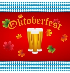 Beer at Oktoberfest Bavarian flag vector image