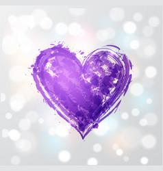 big ultra violet purple grunge heart on white vector image