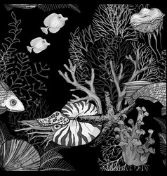 Black and white seamless pattern with dark ocean vector
