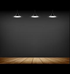 Black wall and wooden floor empty room template vector