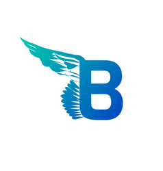 blue gradient elegant dynamic letter b with wing vector image