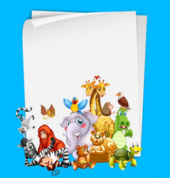border template design with cute animals vector image