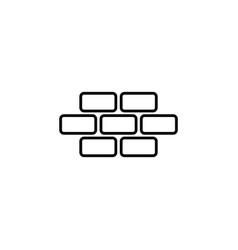 Bricks brickwork masonry line icon black on white vector