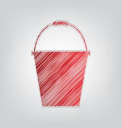 Bucket sign for garden red gradient scribble icon vector