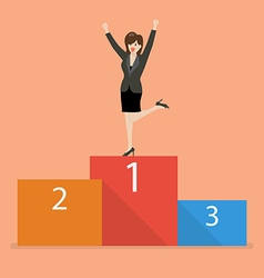 Business woman celebrates on winning podium vector