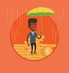 Businessman insurance agent with umbrella vector