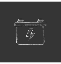Car battery Drawn in chalk icon vector