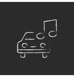 Car with music note icon drawn in chalk vector