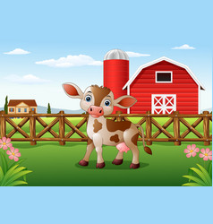 cartoon cow with farm background vector image