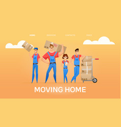 cartoon loaders movers team vector image