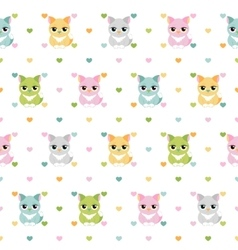 Cats and hearts children seamless pattern vector