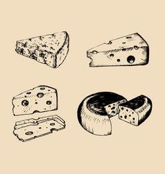 Cheese set vintage hand drawn parmesan vector