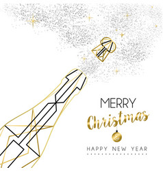 christmas and new year abstract gold line bottle vector image