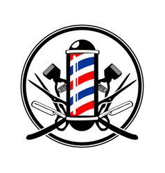 Circular emblem barbers pole with scissor razor vector