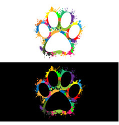 colorful paw print vector image