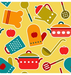 Colorful seamless pattern of kitchen utensil vector