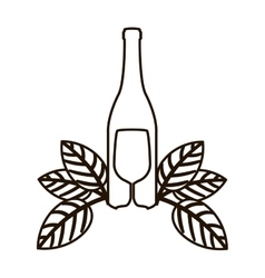 Contour bottle wine and goblet with leaves vector