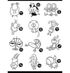 cute horoscope zodiac signs vector image