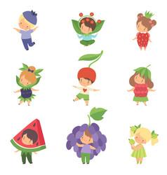 Cute little kids wearing berries costumes set vector