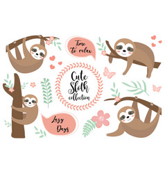 cute sloth character set collection design vector image