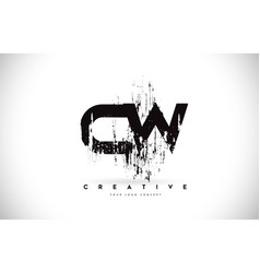 Cw c w grunge brush letter logo design in black vector