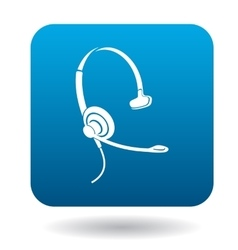 Earphone with mic for consultations icon vector