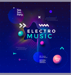 Electronic music fest summer wave poster design vector
