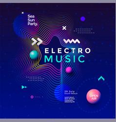 electronic music fest summer wave poster design vector image