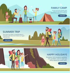 family hiking banners kids with parents camping vector image