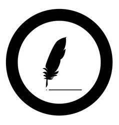 feather icon black color in circle vector image