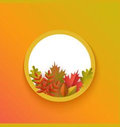 Flat autumn leaves pumpkin circle frame vector