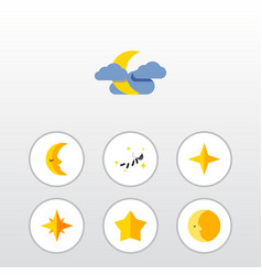 Flat icon night set of starlet lunar asterisk vector