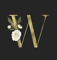 Floral alphabet and gold serif letter vector