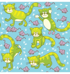 Funny cat and mouse seamless vector