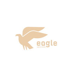 geometric logotype with silhouette flying eagle vector image