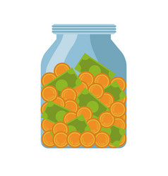 Glass bottle with savings vector
