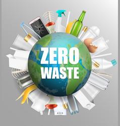 globe with zero waste slogan vector image