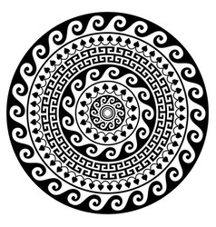 greek mandala design round key pattern vector image
