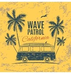 Grunge vintage retro surf van vector
