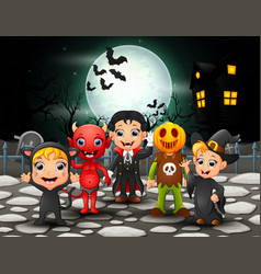 happy halloween kids in full moon background vector image