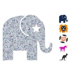 Hatch elephant icon mosaic vector