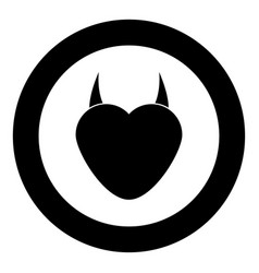 Heart with devil horn icon black color in circle vector