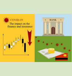Impact covid-19 on finance and insurance vector