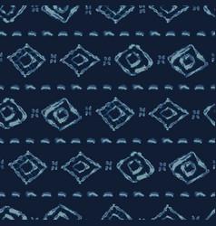 Indigo blue batik dye seamless pattern vector