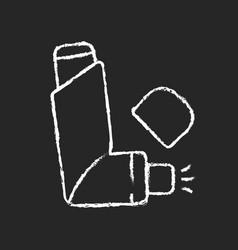 Inhaler chalk white icon on dark background vector