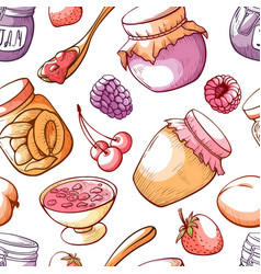 jam and sweet fruit marmalade seamless pattern vector image