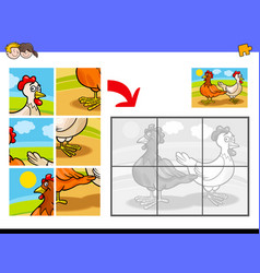 Jigsaw puzzles with two chickens farm birds vector