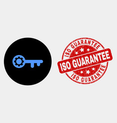 key gear icon and grunge iso guarantee vector image